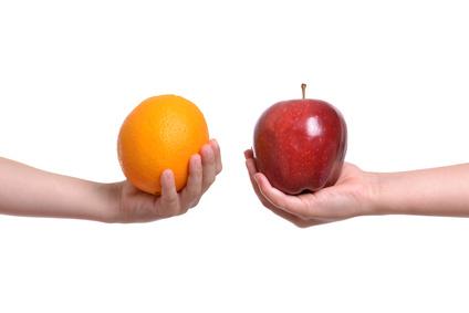 niezgodność jabłko pomarańcze